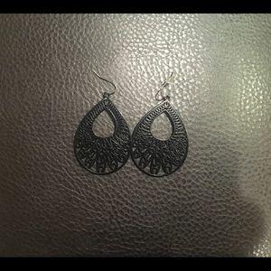 Black wire earrings